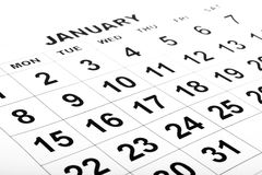 Den tomma kalendern med svart numrerar Royaltyfri Bild