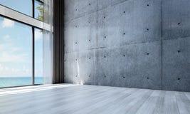 Den tomma mönstrar designen och betongväggen för vardagsrumkorridor- och vardagsruminre bakgrund Arkivfoto