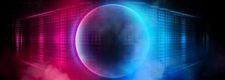 Den tomma mörka futuristiska Sci Fi stora Hall Room With Lights And cirkeln formade neonljus Mörk neonbakgrund vektor illustrationer