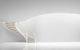 Den tomma moderna utrymme för vitt rum och tolkningen för spiraltrappa 3d avbildar Royaltyfria Bilder