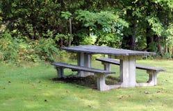 Den tomma picknicken bordlägger i en parkera Royaltyfri Foto