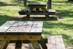 Den tomma picknicktabellen i ett stillsamt parkerar arkivbild