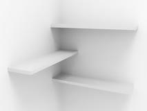 den tomma presentationen shelves white Royaltyfri Bild