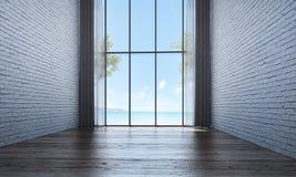 Den tomma vardagsrum- och vardagsruminredesignen och vittegelstenväggen texturerar bakgrund Arkivfoton