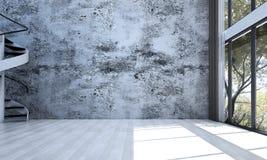 Den tomma vardagsruminredesignen och betongväggen mönstrar bakgrund Fotografering för Bildbyråer