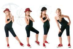 Den tonåriga flickan i kläder av sportar utformar, den oavkortade sikten. Fotografering för Bildbyråer