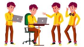 Den tonåriga pojken poserar den fastställda vektorn Roligt kamratskap Bärbar dator musik För annonsering hälsning, meddelandedesi vektor illustrationer