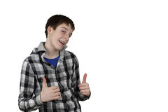 Den tonårs- pojken visar ok Arkivbild