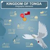 Den Tonga infographicsen, statistiska data, siktar Dykt med oliv Royaltyfria Bilder