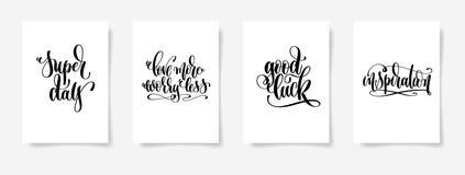 Den toppna dagen älskar mer bekymmer mindre, bra lycka, inspiration vektor illustrationer