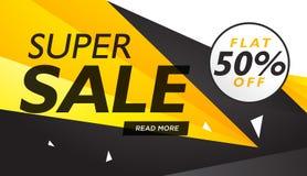 Den toppna försäljningsguling- och svartkupongen planlägger mallen Royaltyfria Foton