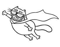 Den toppna katten flyger till räddningsaktionen Isolerad vektorillustration Arkivbilder