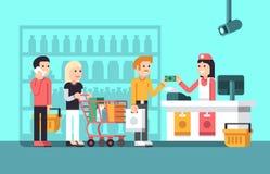 Den toppna marknaden, galleriainre med folk-, försäljare- och lagerskärm sänker vektorillustrationen stock illustrationer