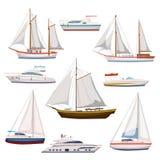 Den toppna uppsättningen av vattenvagnen och maritim transport i modern tecknad filmdesign utformar Skepp fartyg, skyttel, krigss royaltyfri illustrationer