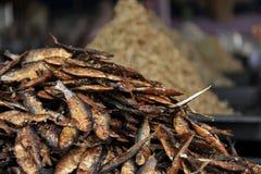 Den torkade och rimmade makrillfisken sålde i lokal ny marknad Fotografering för Bildbyråer