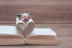 Den torkade rosa färgrosen på den gamla hjärtan formade boken, rosa färgsignaler Fotografering för Bildbyråer