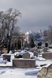 Den Totenberg kyrkogården och Hellensteinen rockerar i Heidenheim i w Royaltyfria Bilder