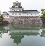 Den Toyama slotten med reflexion i vatten, rockerar den historiska gränsmärket Royaltyfria Bilder