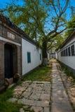 Den trädgårds- arkitekturen av den Dinghui templet in Royaltyfri Bild