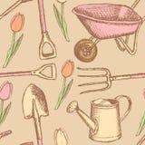 Den trädgårds- gaffeln, kärra och att bevattna kan och skyffeln, sömlös modell Royaltyfria Bilder