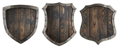 Den trämedeltida heraldiska skölduppsättningen isolerade illustrationen 3d vektor illustrationer