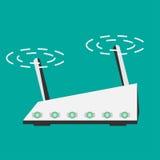 Den trådlösa routeren som framlänges isoleras, utformar wifi Arkivbilder