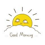 Den trötta solen önskar dig bra morgon Royaltyfria Bilder