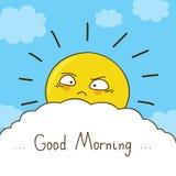 Den trötta solen önskar dig bra morgon Arkivfoto