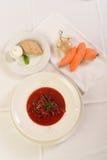Den traditionell ryssen och Ukraina soppa tjänas som i restaurang. bästa sikt Royaltyfria Bilder