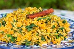 Den traditionella indiska maträtten kallade khichdi med den kanelbruna pinnen Arkivbild
