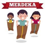 Den traditionella indonesiska sakkunnigleken på självständighetsdagen, barn springer i säckar Den Merdeka dagen är den indonesisk vektor illustrationer