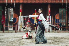 Den traditionella kampsportförsökkapaciteten, December 23, 2016, Gyeonggi-gör, Suwon-si, Sydkorea Royaltyfri Foto