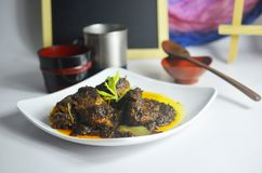 Den traditionella lokala maträtten från Malaysia kallade nötköttopor blandning och kock med all asiatisk krydda för smaklig och a royaltyfri foto