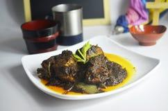 Den traditionella lokala maträtten från Malaysia kallade nötköttopor blandning och kock med all asiatisk krydda för smaklig och a arkivfoton