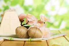 Den traditionella påskostefterrätten, ägg, torkduk, blommar på abstr Fotografering för Bildbyråer