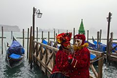 Den traditionella venetian karnevalet maskerar Arkivbilder
