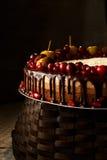 Den trefaldiga chokladkakan dekorerade med granatäpplet, tranbär och små äpplen Royaltyfri Bild