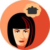 Den trendiga kvinnan drömmer om matlagning Plan stil Flickabrunen Royaltyfri Fotografi