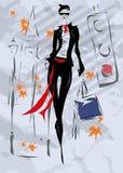 Den trendiga kvinnan går ner gatan, nedgång, Arkivfoton