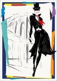 Den trendiga kvinnan går ner gatan, nedgången, höst Arkivbilder