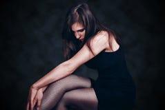 Härlig kvinna i strumpbyxor arkivfoto