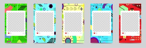 Trendy editable templates for instagram stories, sale. Design backgrounds for social media. Hand drawn abstract card. royalty free illustration