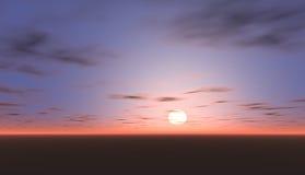 Den trevliga sikten av solnedgången med blåtten tänder i himlen Arkivfoto