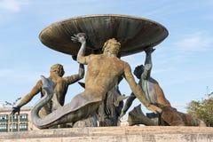 Den Triton springbrunnen på Malta Arkivfoton