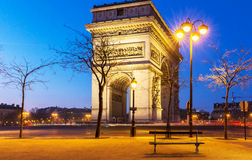 Den triumf- bågen i afton, Paris Arkivfoto