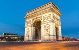 Den triumf- bågen i afton, Paris Royaltyfri Foto