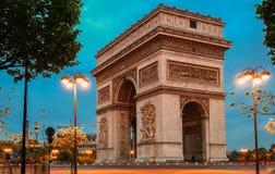 Den triumf- bågen i afton, Paris Arkivfoton