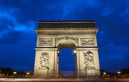 Den triumf- bågen i afton, Paris, Frankrike Fotografering för Bildbyråer