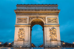 Den triumf- bågen i afton, Paris, Frankrike Royaltyfria Bilder
