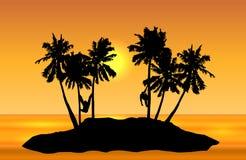 Den tropiska ölandskapvektorn med apor gömma i handflatan på och yelloen stock illustrationer